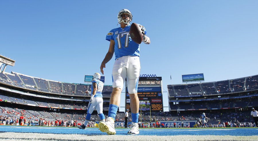 Chargers Philip Rivers warms up before a game against Kansas City. — K.C. Alfred / San Diego Union-Tribune