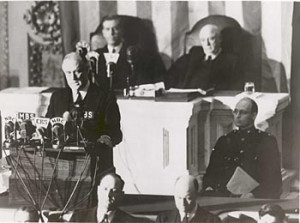 """President Roosevelt delivers his """"Day of Infamy"""" speech to a joint session of Congress on December 8, 1941. (Image source: archives.gov)"""