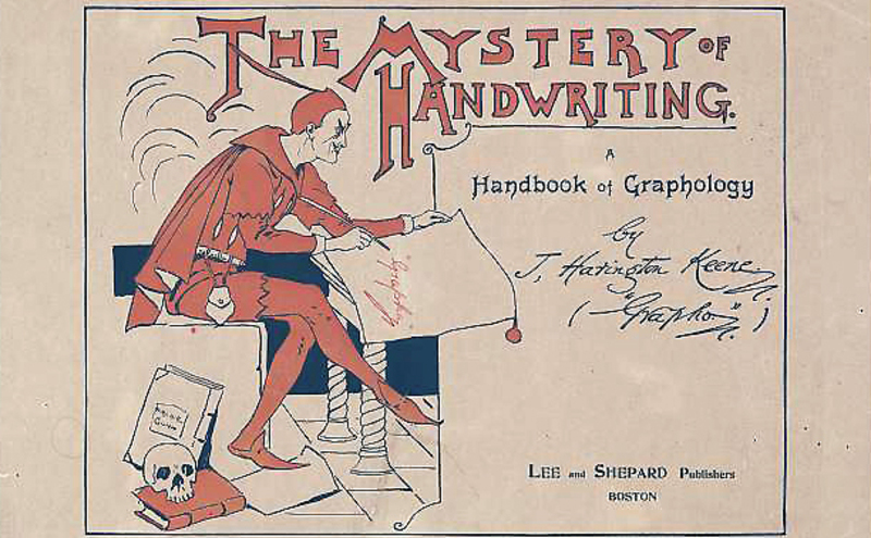 Image: poster of The Mystery of Handwriting, a Handbook of Graphology, 1896 / Archie Gunn, artist.