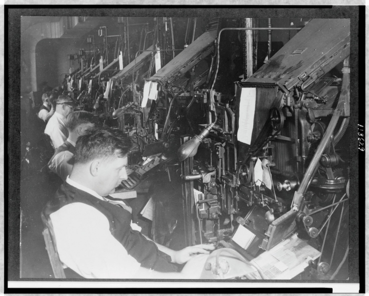 Men working at linotype machines in the Card Division Printing Office of the Library of Congress (c. 1900-1920), from The Card Catalog: Books, Cards, and Literary Treasures by the Library of Congress, published by Chronicle Books 2017 (all images courtesy the Library of Congress)