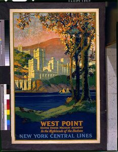 Frank Hazell's poster of West Point as seen from the window of a train car.