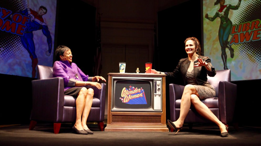 Librarian of Congress Carla Hayden speaks to Wonder Woman actress Lynda Carter. Photographs by Evy Mages.