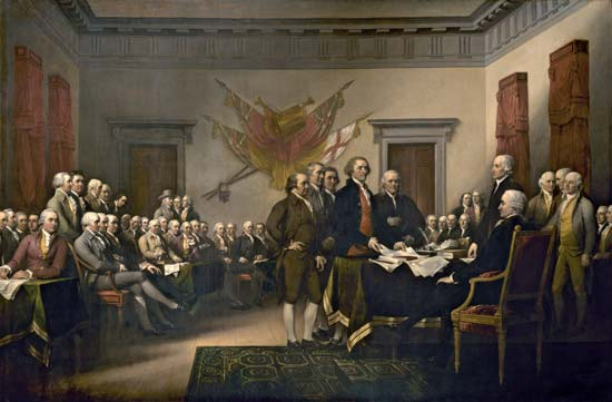 Trumbull, John: Declaration of Independence Declaration of Independence, oil on canvas by John Trumbull, 1818; in the U.S. Capitol Rotunda, Washington, D.C. Architect of the Capitol