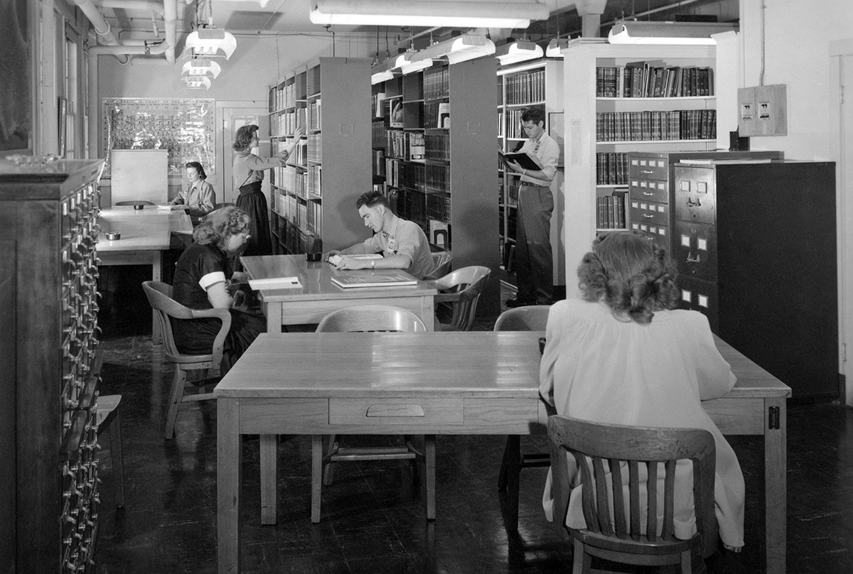 Inner view of the Manhattan Project's scientific library Courtesy Los Alamos Historical Society Photo Archives