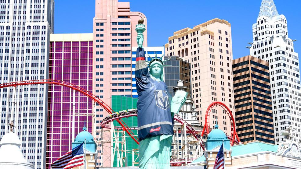 To celebrate the Vegas Golden Knights hockey team making it to the Stanley Cup playoffs in their inaugural season, New York New York Hotel & Casino dressed their Statue of Liberty in a Vegas Golden Knights jersey. Friday, April 13, 2018. CREDIT: Glenn Pinkerton/Las Vegas News Bureau