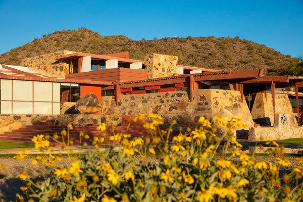 Frank Lloyd Wright built Taliesin West, his winter retreat and architecture school where he adapted his organic Prairie style to the Sonoran Desert.CreditJohn Burcham for The New York Times