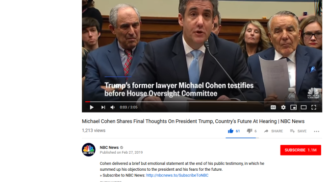 (79) Michael Cohen Shares Final Thoughts On President Trump, Country's Future At Hearing | NBC News – YouTube