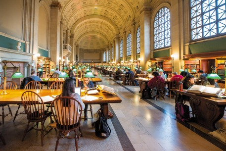 Haizhan Zheng/Getty Images Bates Hall, the reading room at the Boston Public Library, 2017