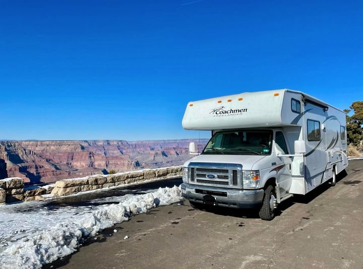 Courtesy of Kelly Burch The family's RV in Grand Canyon National Park on New Year's Day 2021.