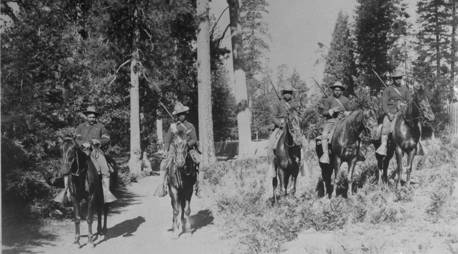 Courtesy of the National Park Service 24th Infantry Buffalo Soldiers patrol Yosemite in 1899.