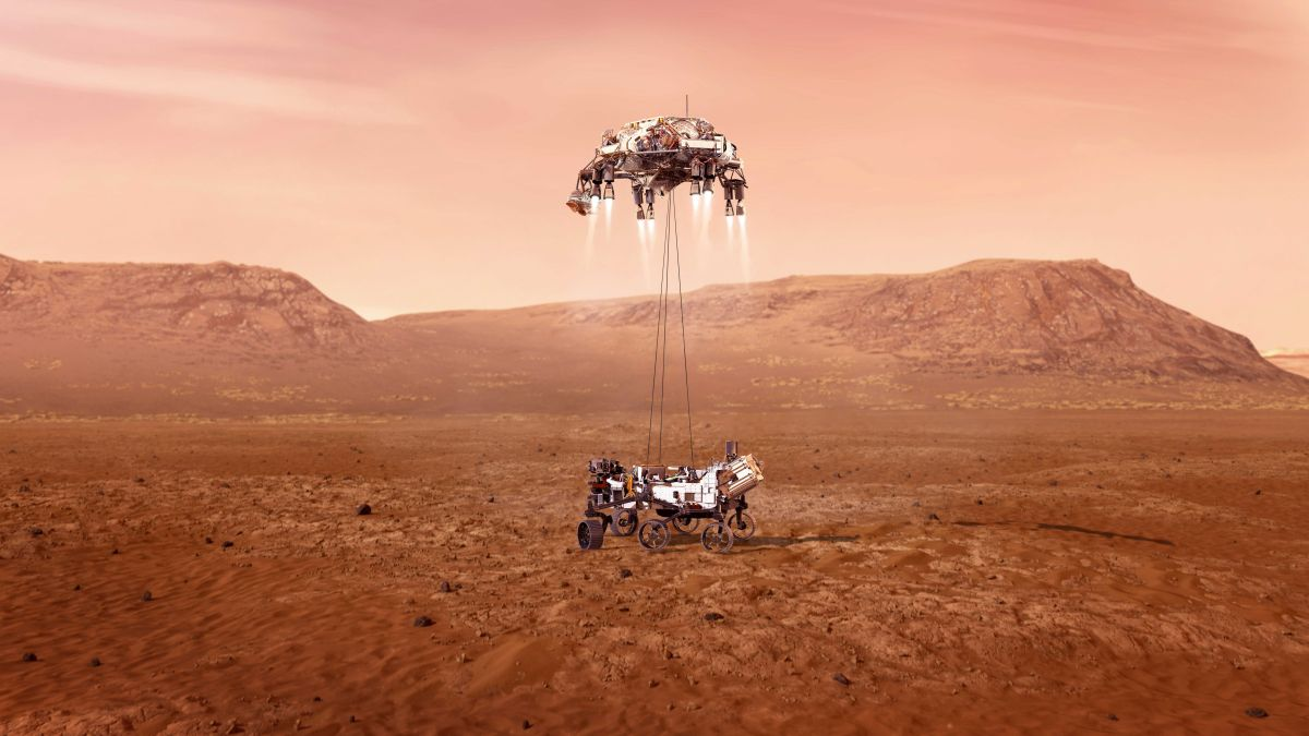 An artist's illustration of NASA's Mars rover Perseverance landing on the Red Planet using a sky crane similar to that of the Curiosity rover in 2012. (Image credit: NASA/JPL-Caltech)