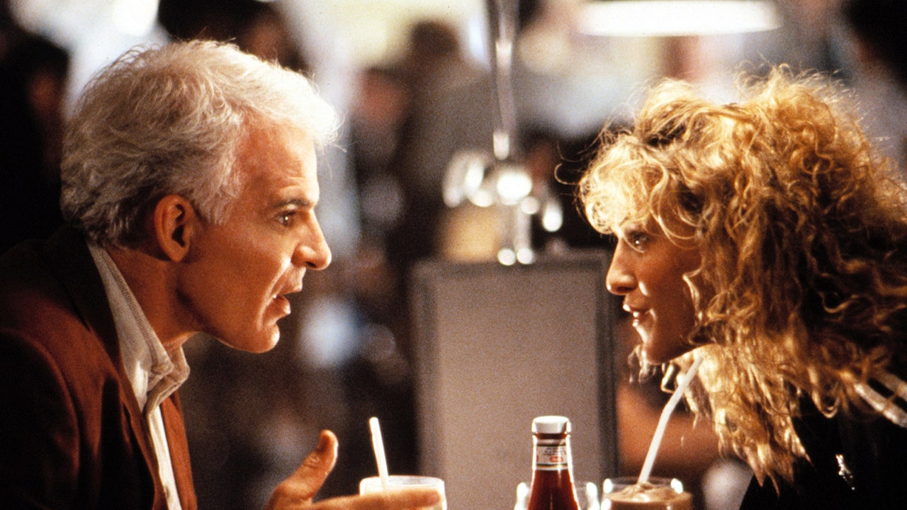 Steve Martin and Sarah Jessica Parker in L.A. STORY, 1991.© TriStar Pictures/Everett Collection.
