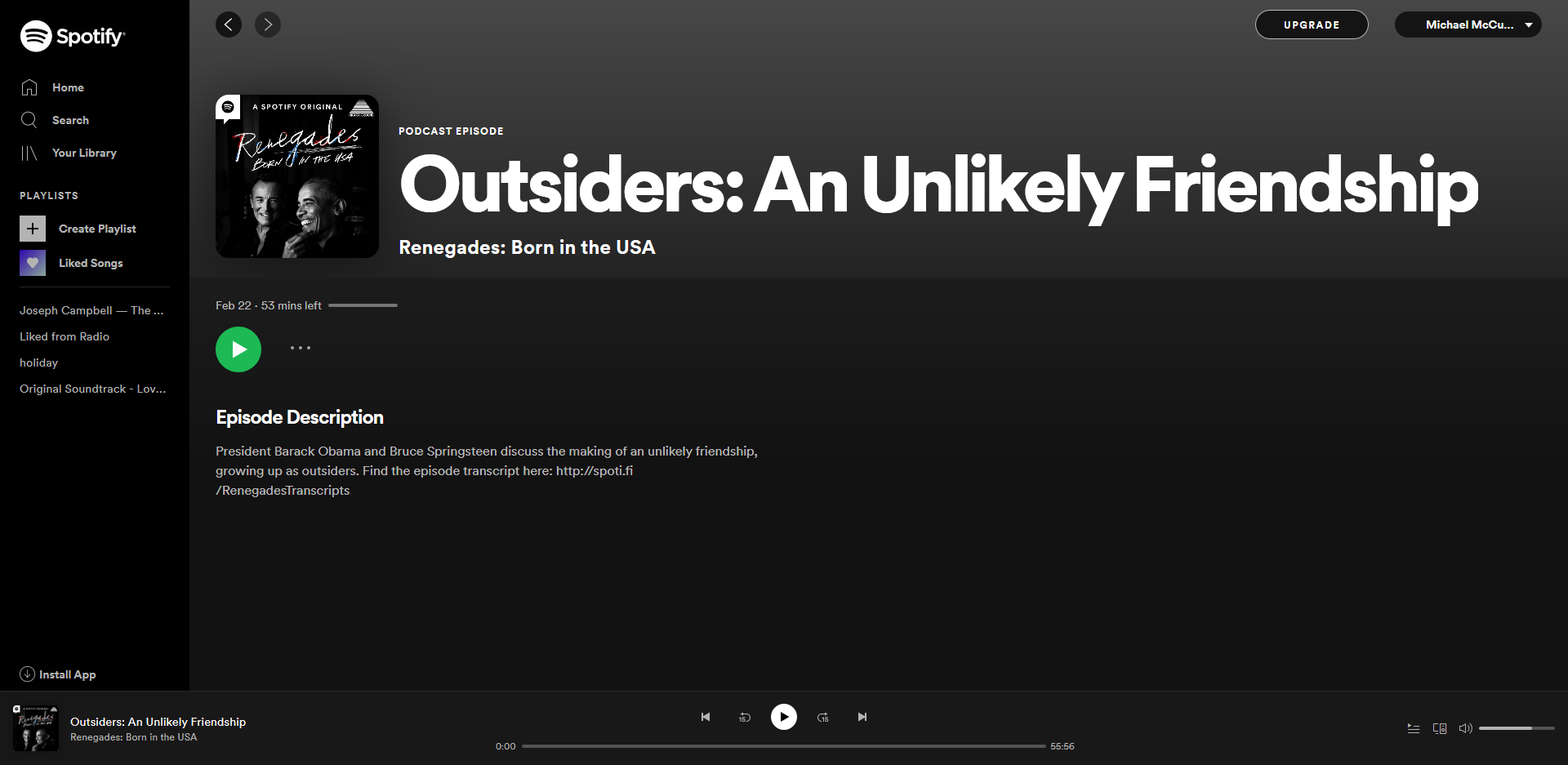 Screenshot, Web version Spotify
