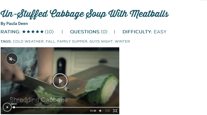 Unstuffed Cabbage Soup with Meatballs Recipe – Paula Deen